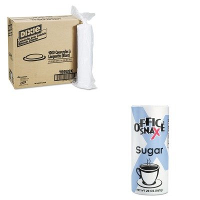 KITDXETB9538XOFX00019CT - Value Kit - Dixie Plastic Lids for Hot Drink Cups (DXETB9538X) and Office Snax Reclosable Canister of Sugar (OFX00019CT) heart of dixie
