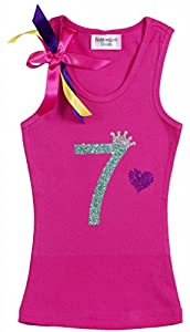 Bubblegum Divas Big Girls' 7th Birthday Pink Princess Crown Tank Top Shirt 9-10
