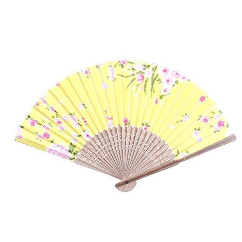 Modèle de fleur de bambou Ribs Folding Fan Rose Jaune