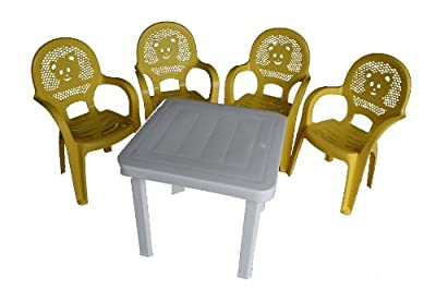 Resol Childrens Kids Garden Outdoor Plastic Chairs & Table Set - Yellow Chairs, White Table - Childs Furniture (Pack of 4 Chairs & 1 Table)