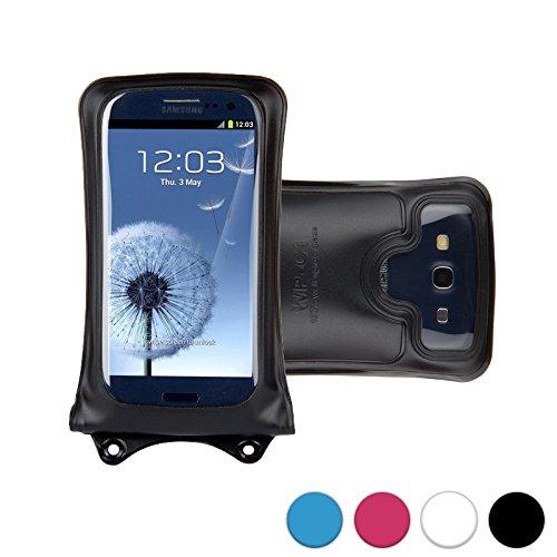 DiCAPac WP-C1 Custodia Impermeabile Universale per Smartphone da Motorola ATRIX HD MB886 / Electrify 2 XT881 in Nero (Sistema di Chiusura Doppio Velcro; Protezione Impermeabile Certificata IPX8 Fino a 10 M; Dispositivo Airbag di Protezione e Galleggiamento Integrato; Obiettivo Fotocamera in Policarbonato Super Nitido; Laccio da Collo Compreso)