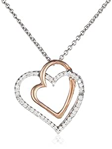 14k Rose Gold Plated Sterling Silver Diamond Double Heart Pendant Necklace (1/10 cttw, ), 18""