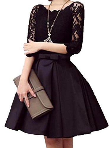 (ビーツリー)Betree ワンピース レディース きれいめ 結婚式 お呼ばれ ドレス レース 切替 セットアップ 風 ( 黒 ワイン ) (黒 L)