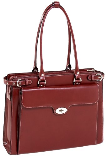 McKlein WINNETKA 94836 Red Leather Ladies' Briefcase w/ Removable Sleeve
