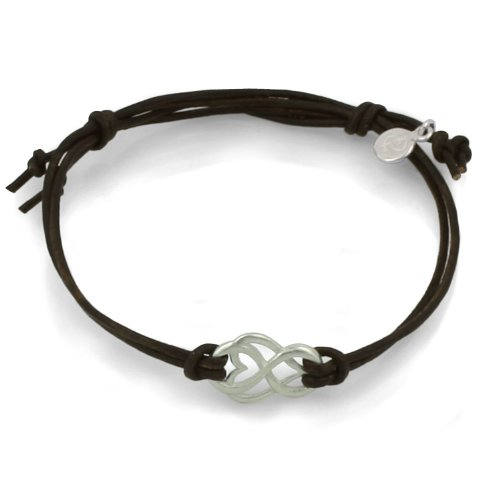 Silver Let Love Out Mini-Heart Leather Bracelet (Brown)
