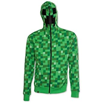 Minecraft Creeper Inside Hoodie, Green, X-Small