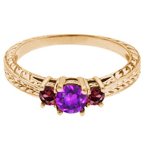 0.60 Ct Round Purple Amethyst Red Rhodolite Garnet 14K Yellow Gold 3-Stone Ring