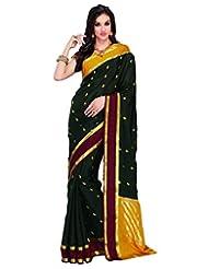 Black Crepe Silk Weaved Saree In Yellow & Gold Weaved Pallu -SR6112