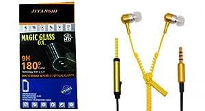 JIYANSHI Lenovo A536 Compatible Combo of Screen Guard/Screen Protector & Earphone Zip Style With Deep Bass (Yellow)