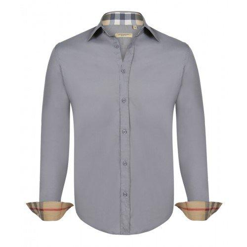 BURBERRY Camicia Uomo Manica Lunga Colore Grigio (M)