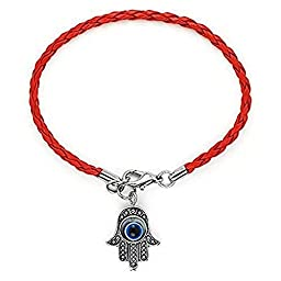 CrazyPiercing Kabbalah Red String Bracelet Against Evil Eye with Hamsa Hand
