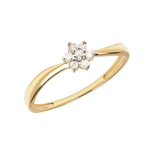 14K Yellow Gold Diamond Cluster Ring (Size 11)