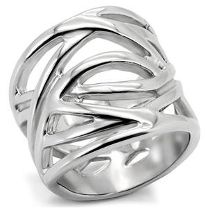 RIGHT HAND RING - Abstract High Polished Stainless Steel Ring