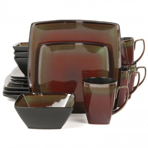 Gibson Elite Tequesta 16-Piece Dinnerware Set, Red