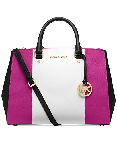 MICHAEL Michael Kors Sutton Large Center Stripe Dressy Tote in Rasperry White Black