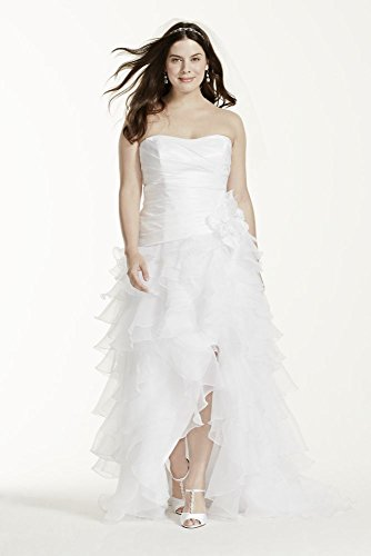 Organza Taffeta High Low Ruffled Plus Size Wedding Dress Style 9T3505, White,...
