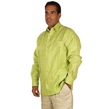Linen Long Sleeve Guayabera for Men in Sage