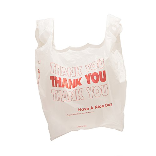 """Thank You"" Carryout Plastic Bags - White With Red Print - 500 Ct."