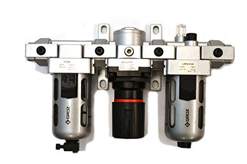 "Groz 60552 Air Filter - Regulator - Lubricator, Modular 3 Piece, Polycarbonate Bowl, Standard - 1/2"" NPT , 106 CFM"