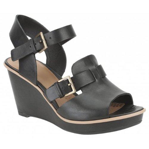 5c3678dc88ac51 Clarks Womens Propose Dress Black Leather Sandals 6.5 UK