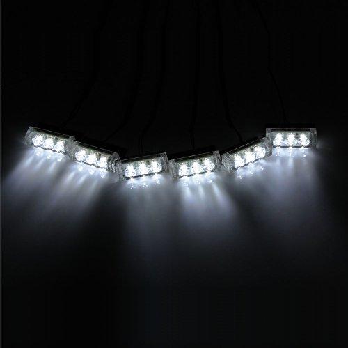 Koolertron 18 Led Emergency Vehicle Strobe Lights For Front Grille/Deck - White