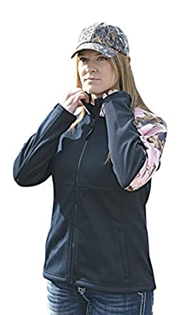 Pink Camo Jacket Womens Plus Reg Mossy Oak Pink Softshell Windproof Jacket (Large)