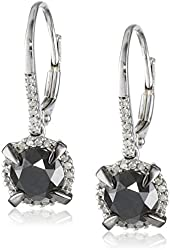 14K White Gold Black and White Diamond Leverback Earrings (2.75 Cttw, G-H Color, I2-I3 Clarity)