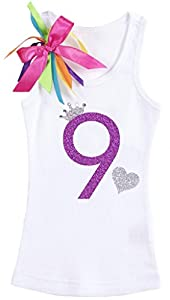Bubblegum Divas Big Girls' 9th Birthday Rhinestone Crown Heart White Tank Top Shirt 9-10