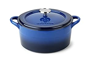 Calphalon 1821046 Simply Enamel Cast Iron Dutch Oven and Cover, 5-Quart, Blue
