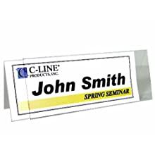 C-Line Large Rigid Plastic Name Tent Holder, Clear, Heavyweight , 4.25 x 11 Inches, 25-Count (87507)