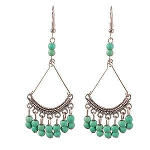 Faux Turquoise 3 cm Bead Chandelier Earrings, Silver Tone Setting