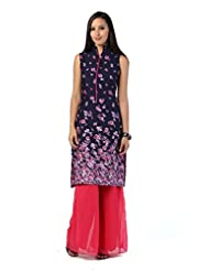 D&S Women's Cotton Sleeveless Kurti With Indo Western Collar,Navy And Multicolor