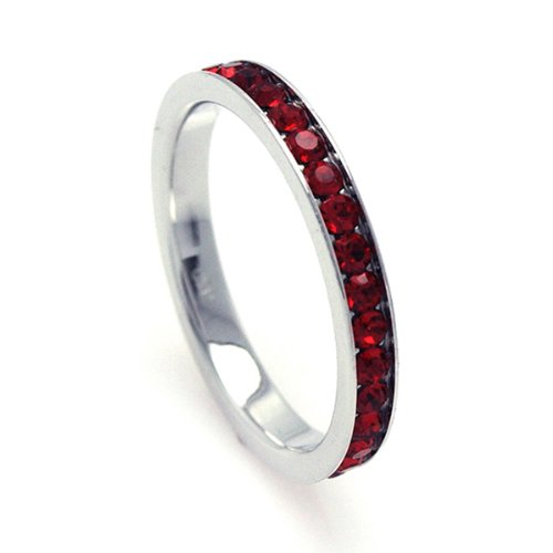 2.5mm Sterling Silver Channel Set Cubic Zirconia July Birthstone Ruby Simulant Eternity Ring Band (Sizes 3 to 9) - Size 3