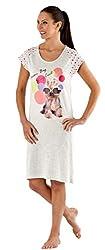 Womens/Ladies Nightwear Dog Spot Print Nightshirt With 'Dream Big Stay Cool' Text