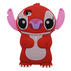 Red Disney 3D Stitch Movable Ear Flip Silicone Case Cover for Apple iPhone 4g/4gs Xmas Gif