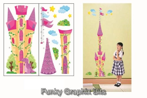 PRINCESS CASTLE KIDS GROWTH CHART HEIGHT MEASURE WALL STICKERS CHILDREN KID'S BEDROOM Boys Girls Wall Decoration (2 sheets in 1 set)
