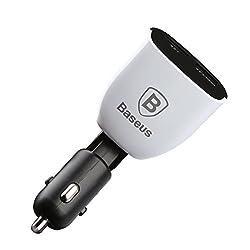 Baseus® 3.4A 2 Port 12V Input USB Car Charger Dual USB 2.4A & 1.0A Universal Ports for Rapid Charging