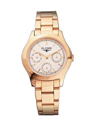 Elysee 84021 - Reloj analógico de mujer de cuarzo con correa de acero inoxidable dorada - sumergible a 30 metros