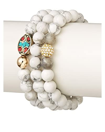 Devoted Set of Three White Howlite Bead Bracelets