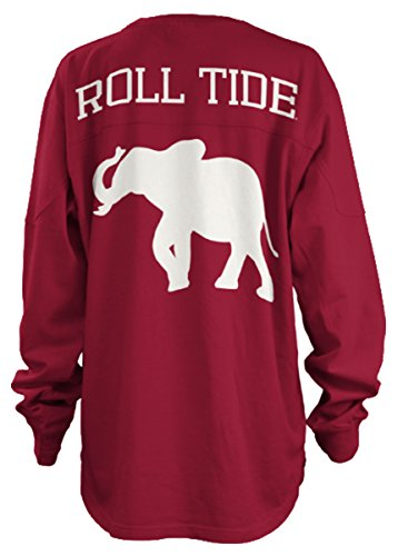 Press Box Alabama Crimson Tide Fight Song Oversized Long Sleeve T-shirt-small (Press Box Red compare prices)