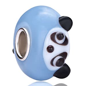 Pugster White Panda Aquamarine Murano Glass Wheel Bead Fits Pandora Charm Bracelet Spacer Charm Bracelet