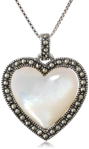 Sterling Silver Marcasite And Mother-Of-Pearl Heart Pendant Necklace, 18""