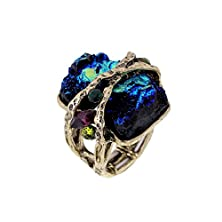 buy Cubic Gem Resin Stone With Crystal Elastic Stacking Rings Antique Gold And Silver Tone 3 Colors (Green)