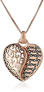 "Sterling Silver with Rose Gold Flashed ""Love"" Mother and Son Forever Heart Pendant Necklace, 18"""