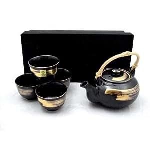 5-pc Japanese Tea Set - Black & Gold