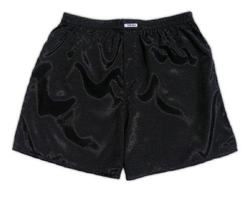 (L) Black Boxer Shorts Underwear Men Sleepwear Satin