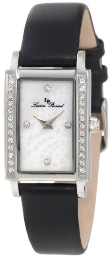 Lucien Piccard Women's 11673-02MOP-BLK Monte Baldo Crystal Accented White Patterned Mother-Of-Pearl Dial Black Leather Watch