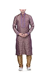 Emuze Men's Blended Fabric Kurta Pyjama (FCKS_9154_BL_42) Blue
