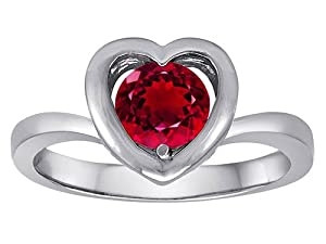 Original Star K(tm) Heart Engagement Promise of Love Ring with 7mm Round Created Ruby in 925 Sterling Silver Size 5