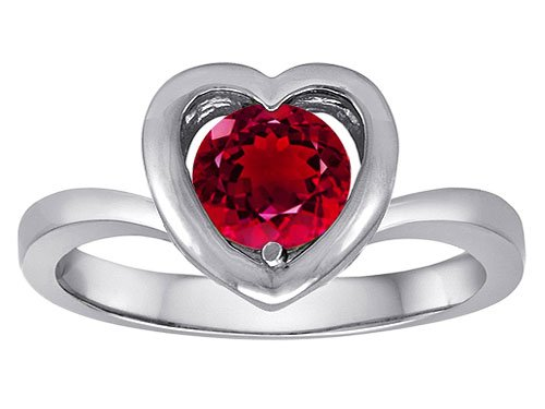 Original Star K(tm) Heart Engagement Promise of Love Ring with 7mm Round Created Ruby in 925 Sterling Silver Size 7